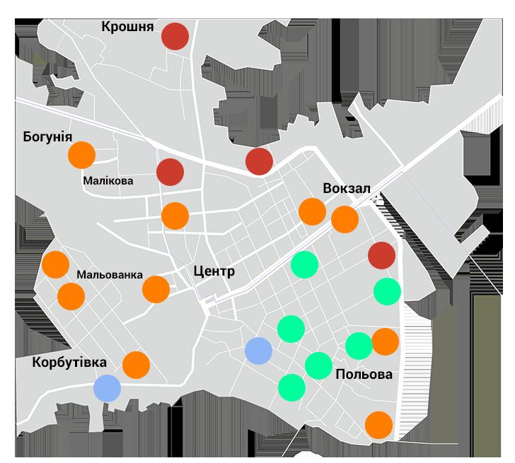 Карта розташування пілларсів