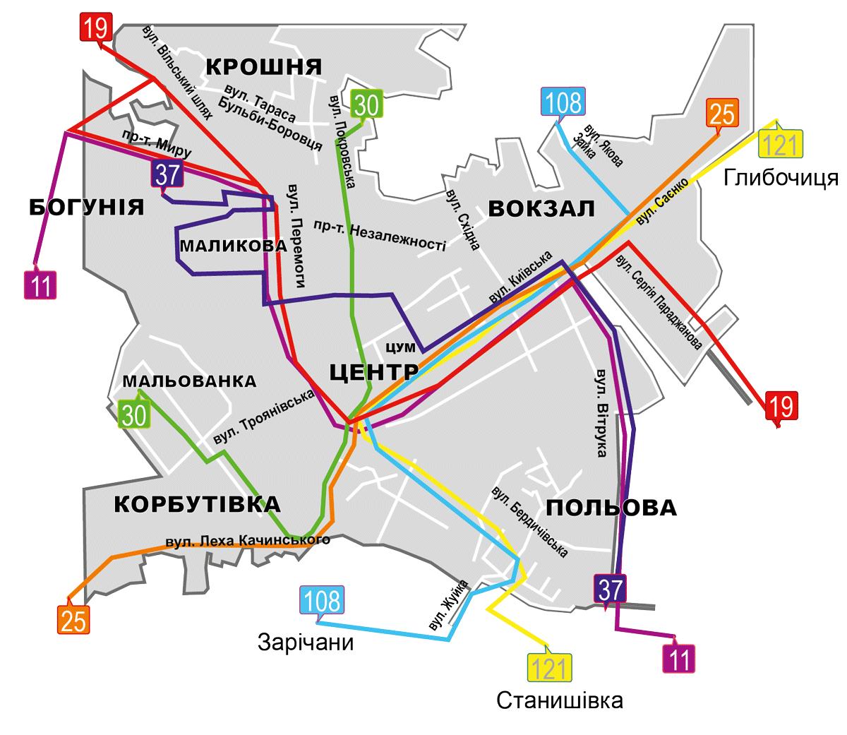 Карта-схема руху маршрутів